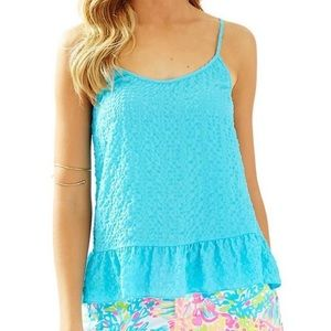 Lilly Pulitzer Coral Top Pool House Blue NWT